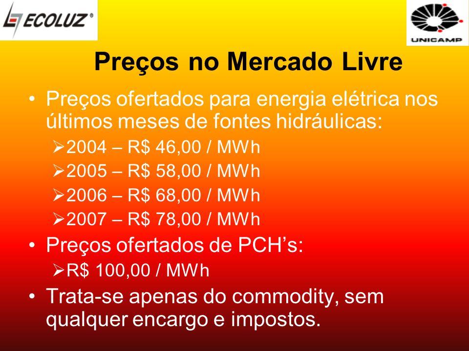 Preços no Mercado Livre Preços ofertados para energia elétrica nos últimos meses de fontes hidráulicas: 2004 – R$ 46,00 / MWh 2005 – R$ 58,00 / MWh 20