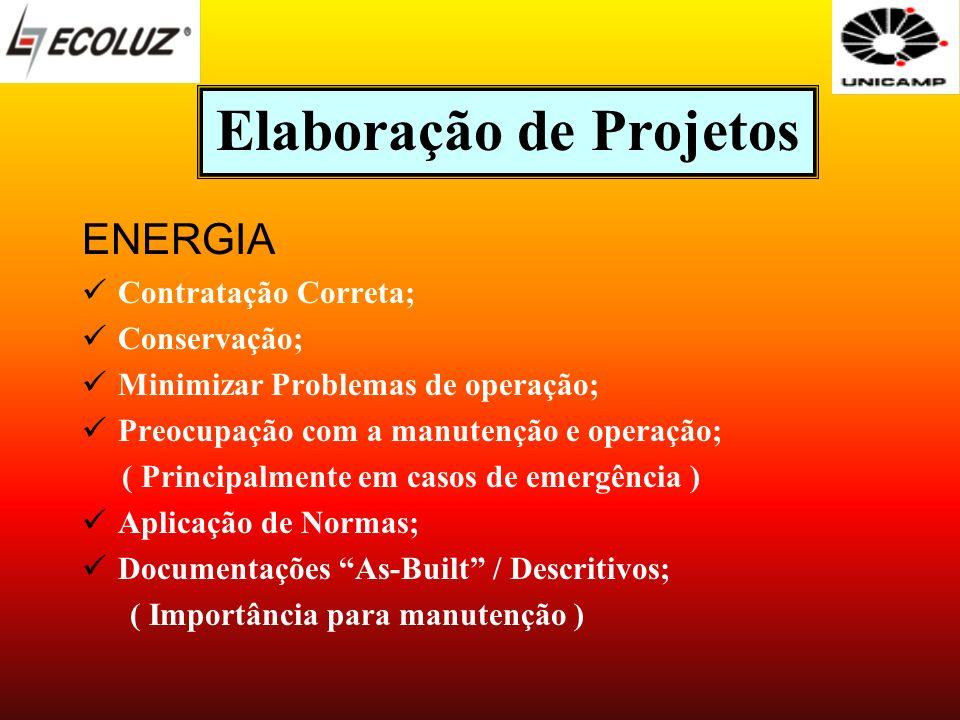 Elaboração de Projetos ENERGIA Contratação Correta; Conservação; Minimizar Problemas de operação; Preocupação com a manutenção e operação; ( Principal