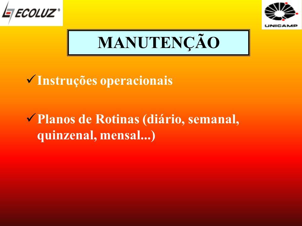 MANUTENÇÃO Instruções operacionais Planos de Rotinas (diário, semanal, quinzenal, mensal...)
