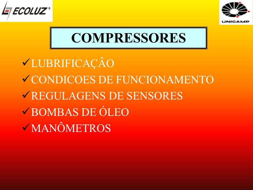 COMPRESSORES LUBRIFICAÇÂO CONDICOES DE FUNCIONAMENTO REGULAGENS DE SENSORES BOMBAS DE ÓLEO MANÔMETROS