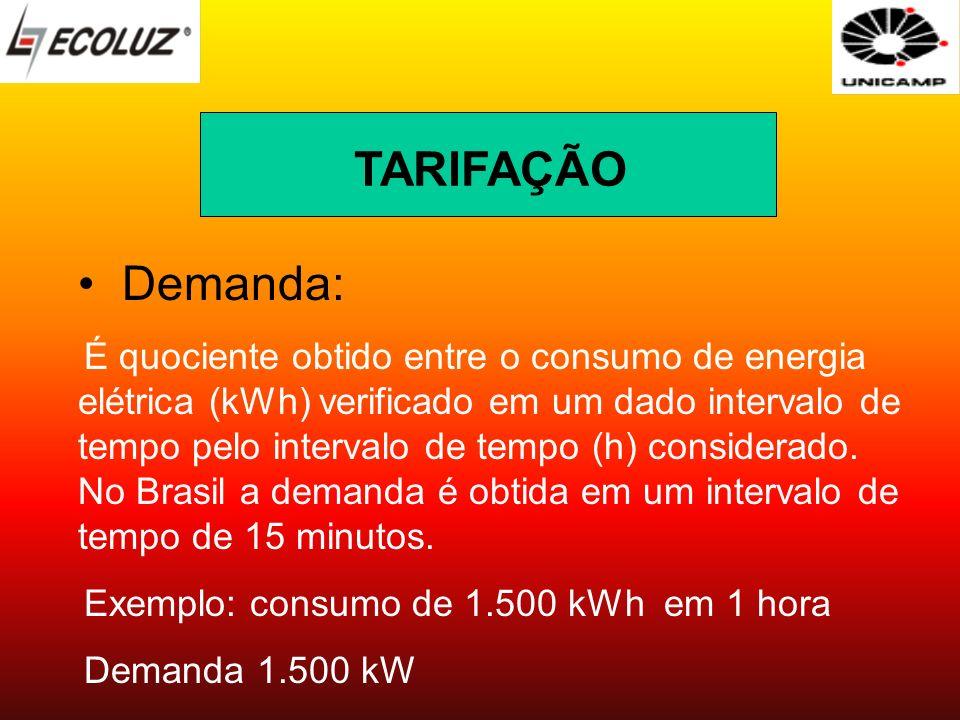 Demanda: É quociente obtido entre o consumo de energia elétrica (kWh) verificado em um dado intervalo de tempo pelo intervalo de tempo (h) considerado