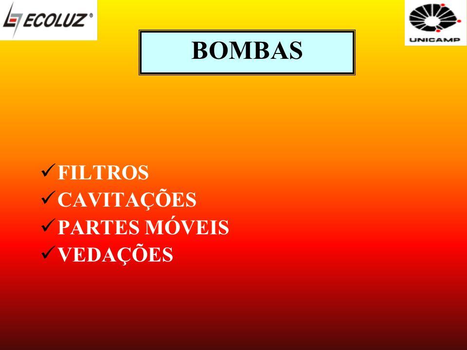BOMBAS FILTROS CAVITAÇÕES PARTES MÓVEIS VEDAÇÕES