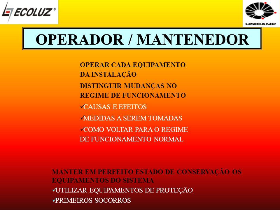 OPERADOR / MANTENEDOR MANTER EM PERFEITO ESTADO DE CONSERVAÇÃO OS EQUIPAMENTOS DO SISTEMA UTILIZAR EQUIPAMENTOS DE PROTEÇÃO PRIMEIROS SOCORROS OPERAR