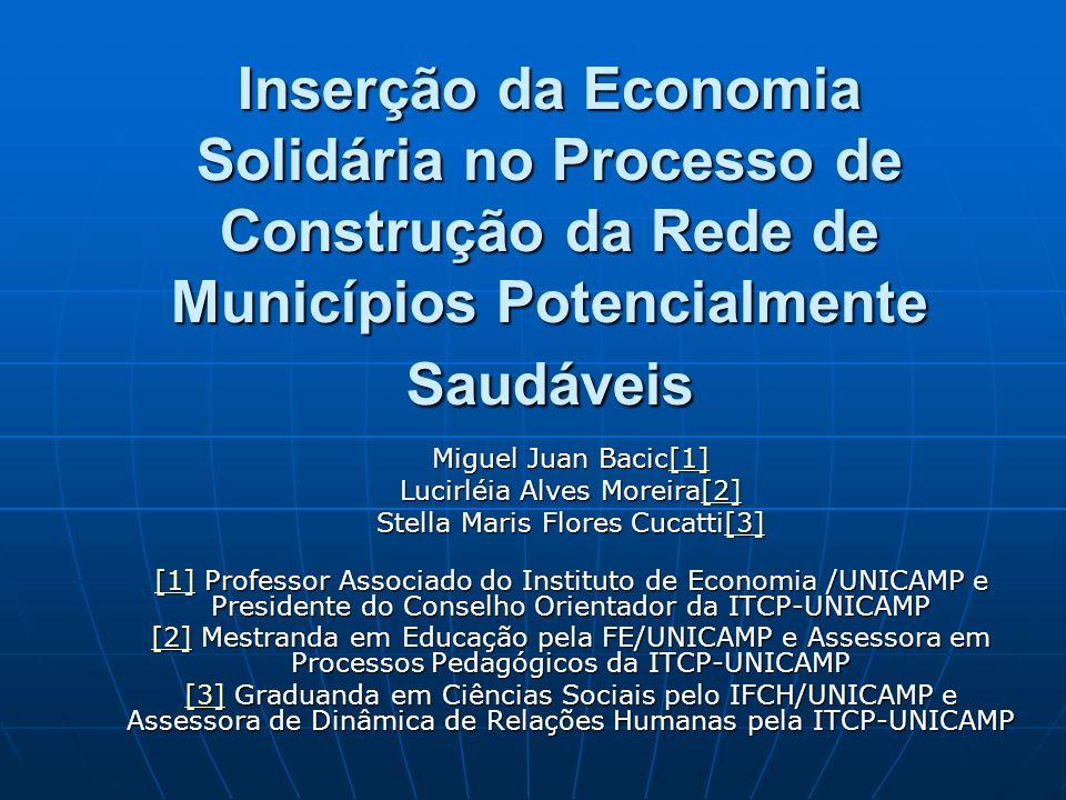 Inserção da Economia Solidária no Processo de Construção da Rede de Municípios Potencialmente Saudáveis Miguel Juan Bacic[1] [1] Lucirléia Alves Morei