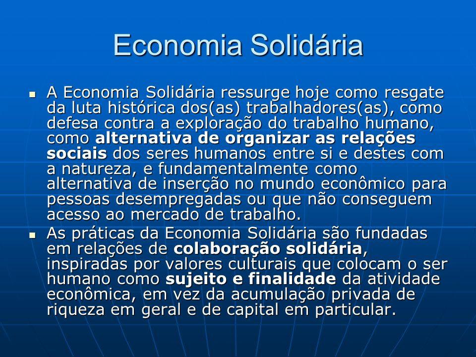 Economia Solidária A Economia Solidária ressurge hoje como resgate da luta histórica dos(as) trabalhadores(as), como defesa contra a exploração do tra