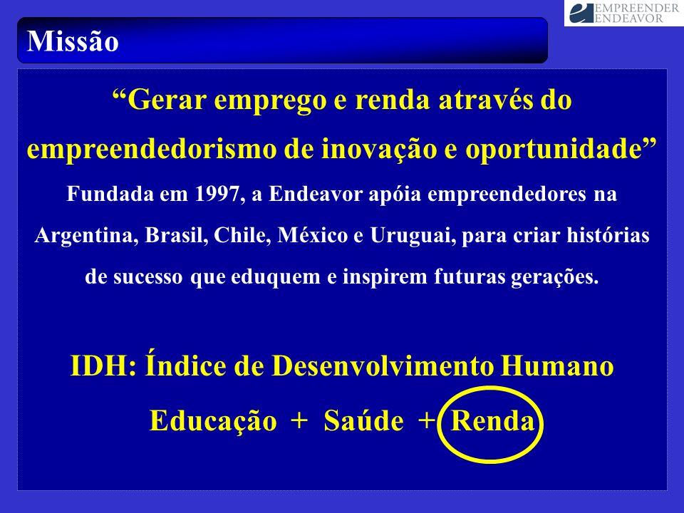 Missão Gerar emprego e renda através do empreendedorismo de inovação e oportunidade Fundada em 1997, a Endeavor apóia empreendedores na Argentina, Bra