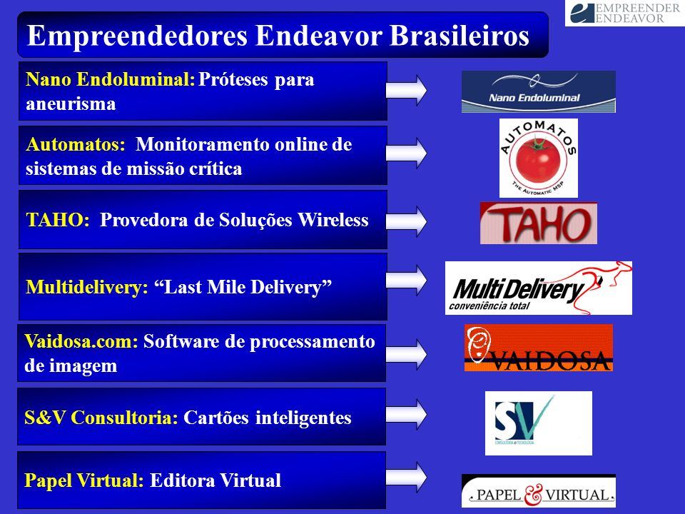Nano Endoluminal: Próteses para aneurisma Papel Virtual: Editora Virtual Empreendedores Endeavor Brasileiros TAHO: Provedora de Soluções Wireless Mult