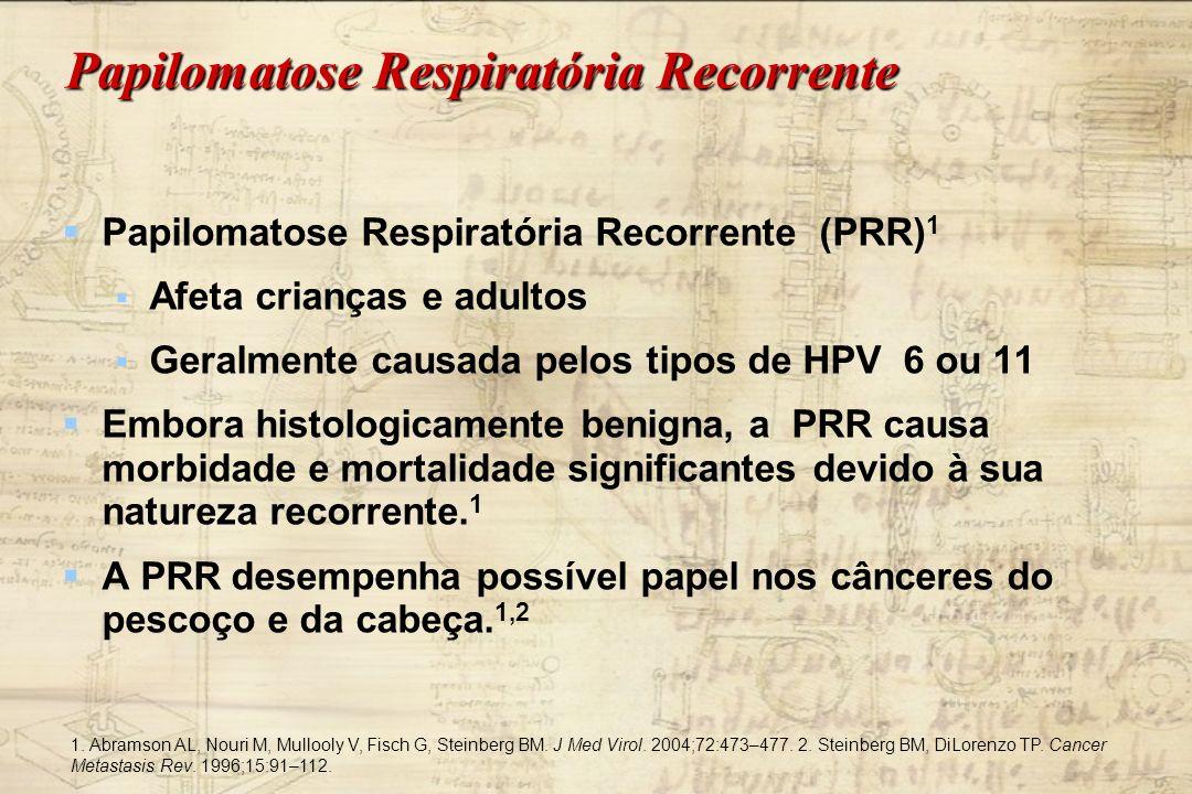 Papilomatose Respiratória Recorrente Papilomatose Respiratória Recorrente (PRR) 1 Afeta crianças e adultos Geralmente causada pelos tipos de HPV 6 ou