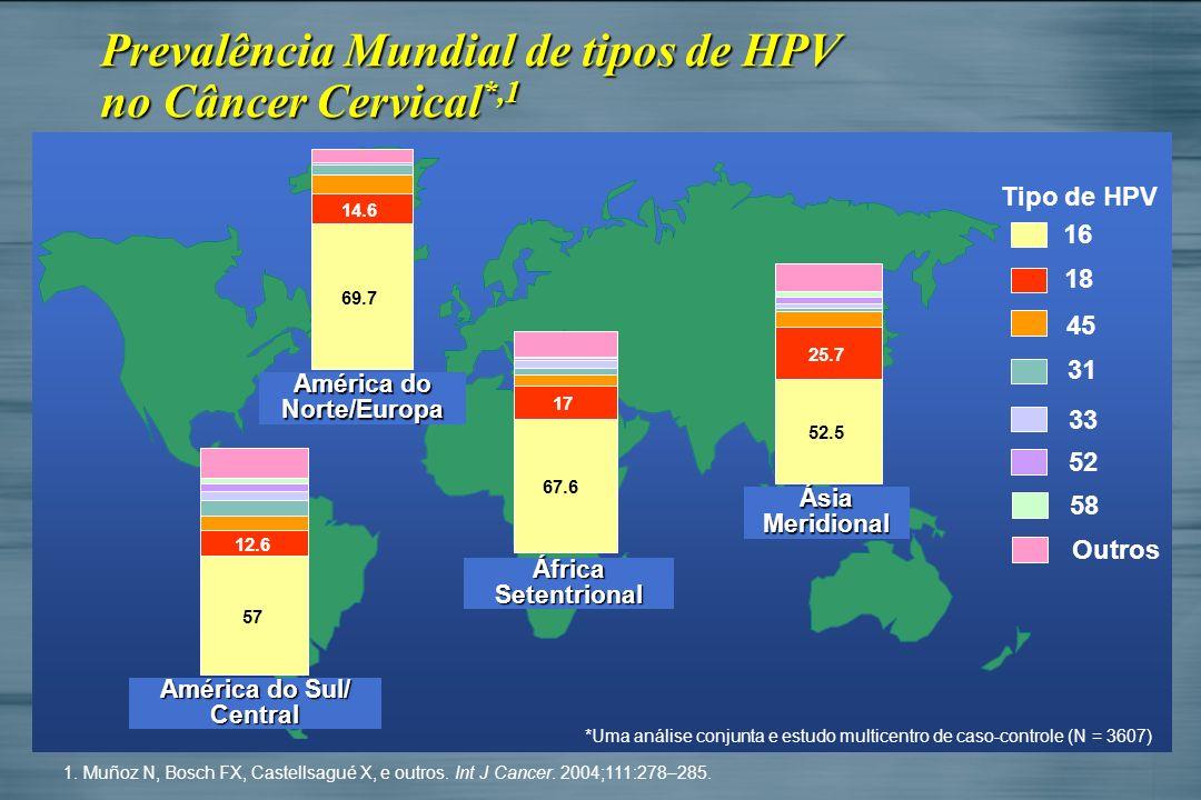 América do Sul/ Central África Setentrional América do Norte/Europa Ásia Meridional 16 18 45 31 33 Tipo de HPV 52 Outros *Uma análise conjunta e estud