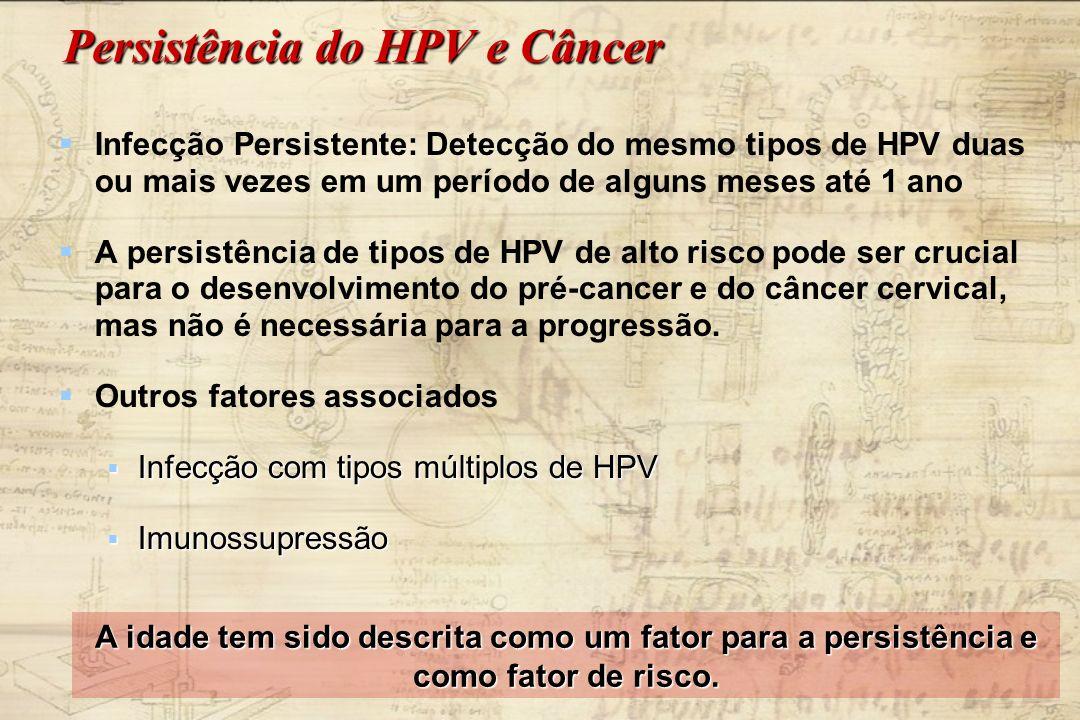 Persistência do HPV e Câncer Infecção Persistente: Detecção do mesmo tipos de HPV duas ou mais vezes em um período de alguns meses até 1 ano A persist