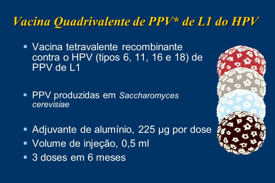 Vacina Quadrivalente de PPV* de L1 do HPV Vacina tetravalente recombinante contra o HPV (tipos 6, 11, 16 e 18) de PPV de L1 PPV produzidas em Saccharo