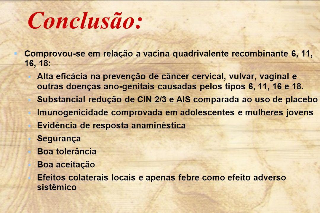 Conclusão: Comprovou-se em relação a vacina quadrivalente recombinante 6, 11, 16, 18: Alta eficácia na prevenção de câncer cervical, vulvar, vaginal e