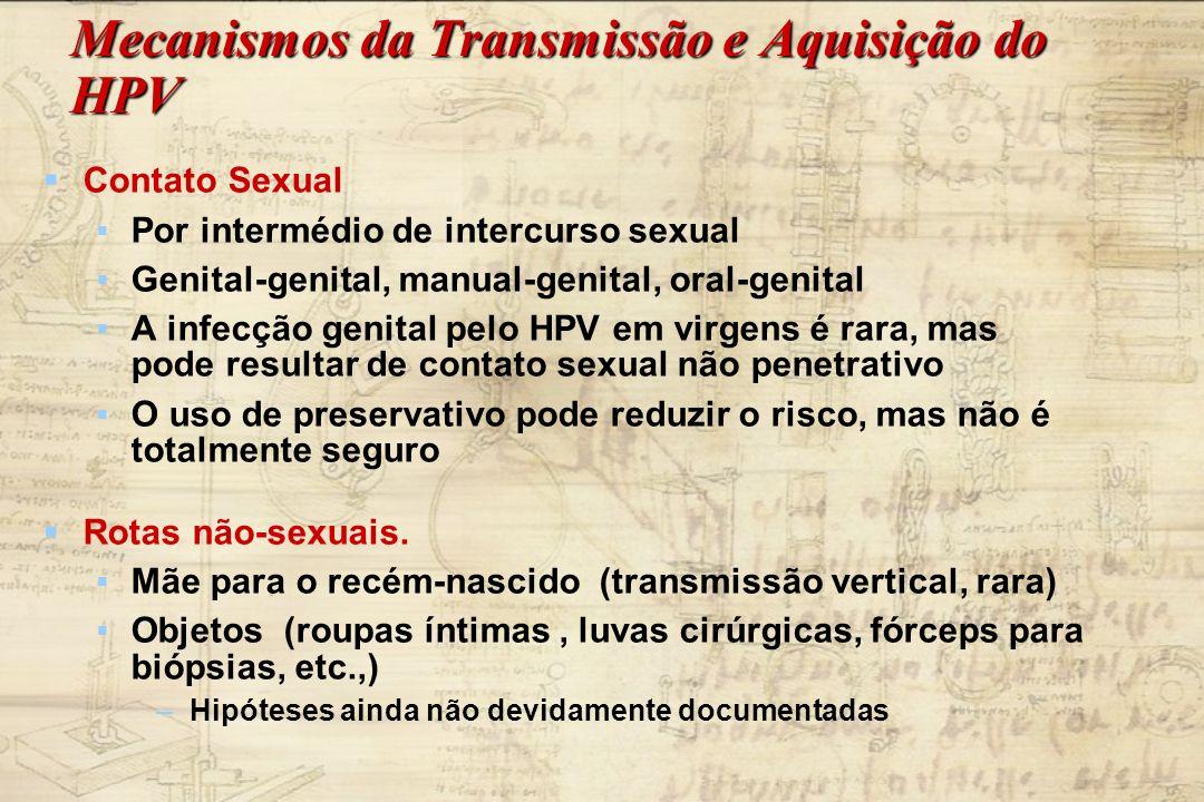 Mecanismos da Transmissão e Aquisição do HPV Contato Sexual Por intermédio de intercurso sexual Genital-genital, manual-genital, oral-genital A infecç
