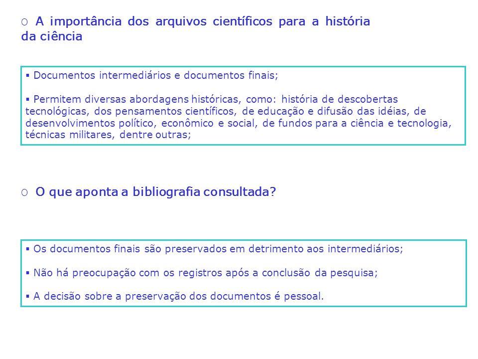 O A pesquisa nos institutos de pesquisa do MCT no Rio de Janeiro Estudar a produção documental arquivística oriunda das atividades de pesquisa de instituições científicas, visando a elaboração de procedimentos, recomendações e políticas de preservação; Objetivo