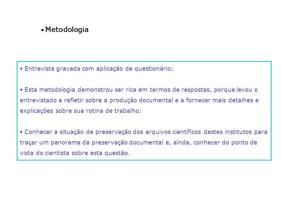 Metodologia Entrevista gravada com aplicação de questionário; Esta metodologia demonstrou ser rica em termos de respostas, porque levou o entrevistado