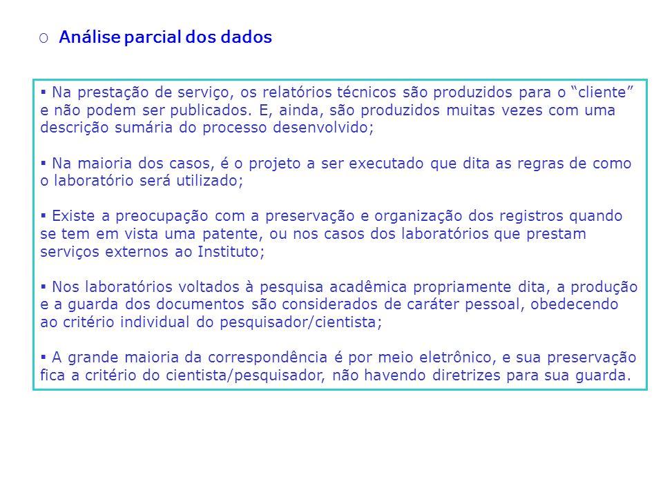 O Análise parcial dos dados Na prestação de serviço, os relatórios técnicos são produzidos para o cliente e não podem ser publicados. E, ainda, são pr