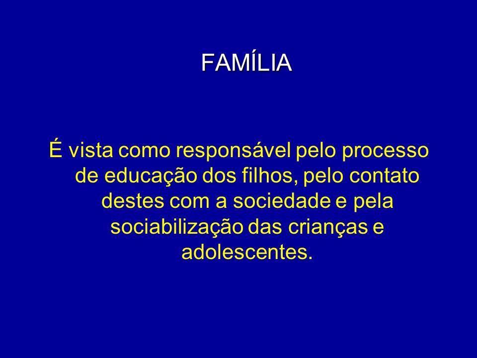 FAMÍLIA É vista como responsável pelo processo de educação dos filhos, pelo contato destes com a sociedade e pela sociabilização das crianças e adoles