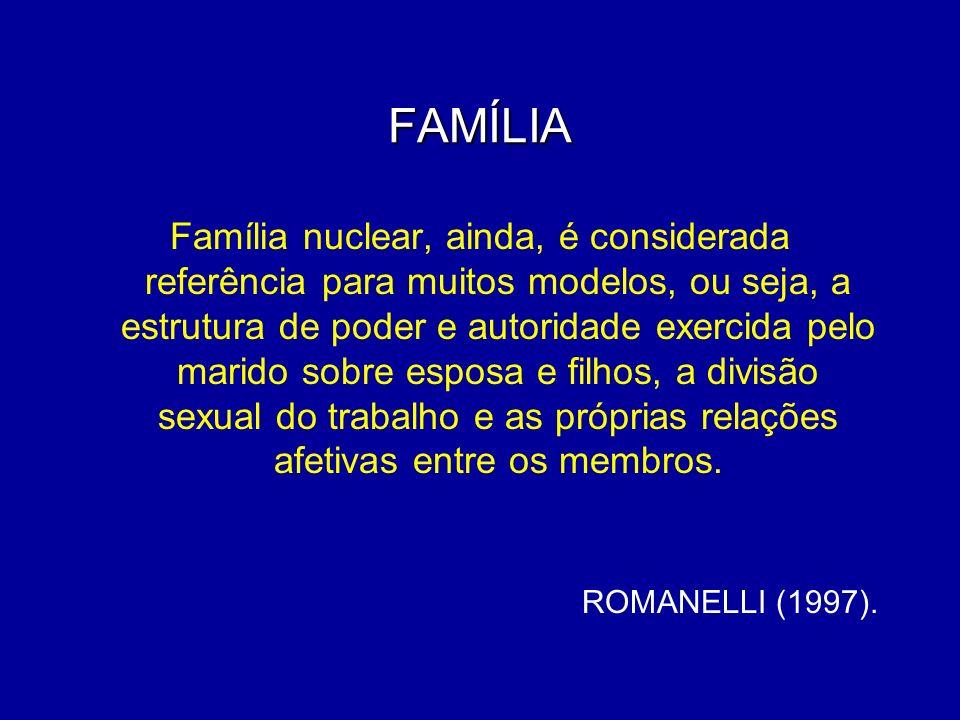 FAMÍLIA Família nuclear, ainda, é considerada referência para muitos modelos, ou seja, a estrutura de poder e autoridade exercida pelo marido sobre es