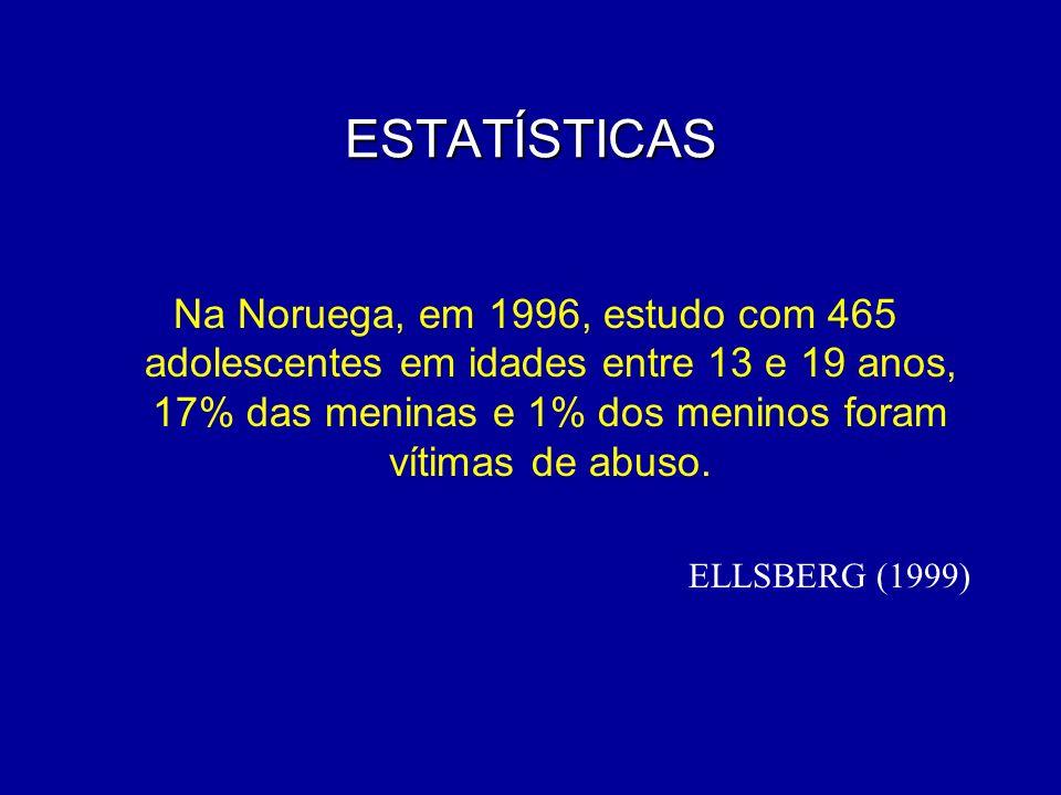 ESTATÍSTICAS Na Noruega, em 1996, estudo com 465 adolescentes em idades entre 13 e 19 anos, 17% das meninas e 1% dos meninos foram vítimas de abuso. E