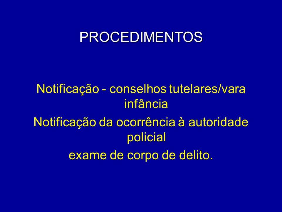 PROCEDIMENTOS Notificação - conselhos tutelares/vara infância Notificação da ocorrência à autoridade policial exame de corpo de delito.