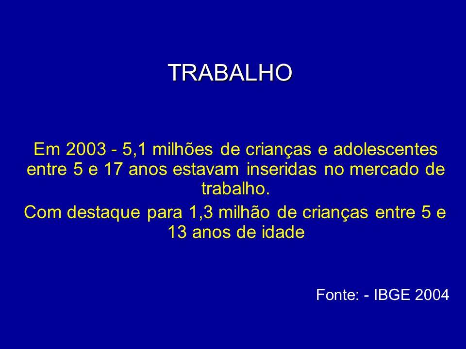 TRABALHO TRABALHO Em 2003 - 5,1 milhões de crianças e adolescentes entre 5 e 17 anos estavam inseridas no mercado de trabalho. Com destaque para 1,3 m