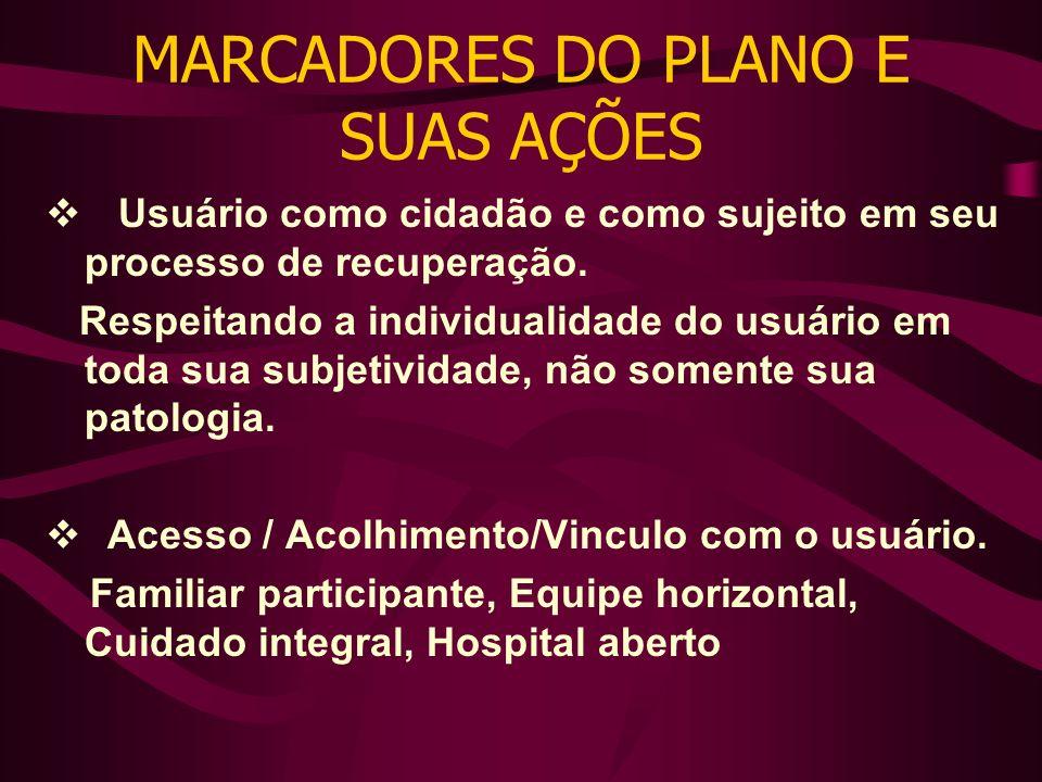 MARCADORES DO PLANO E SUAS AÇÕES Usuário como cidadão e como sujeito em seu processo de recuperação.