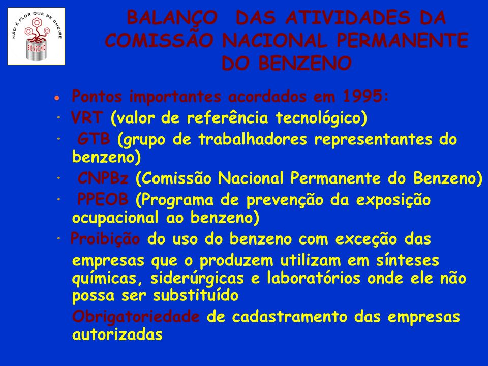 BALANÇO DAS ATIVIDADES DA COMISSÃO NACIONAL PERMANENTE DO BENZENO Pontos importantes acordados em 1995: · VRT (valor de referência tecnológico) · GTB