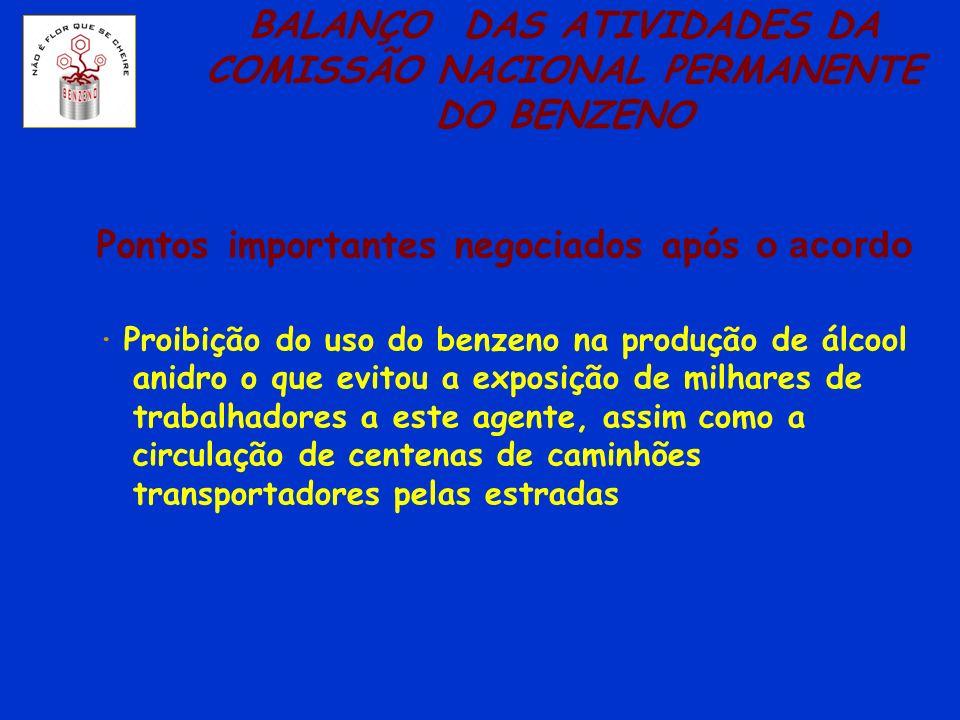 BALANÇO DAS ATIVIDADES DA COMISSÃO NACIONAL PERMANENTE DO BENZENO Pontos importantes negociados após o acordo · Proibição do uso do benzeno na produçã