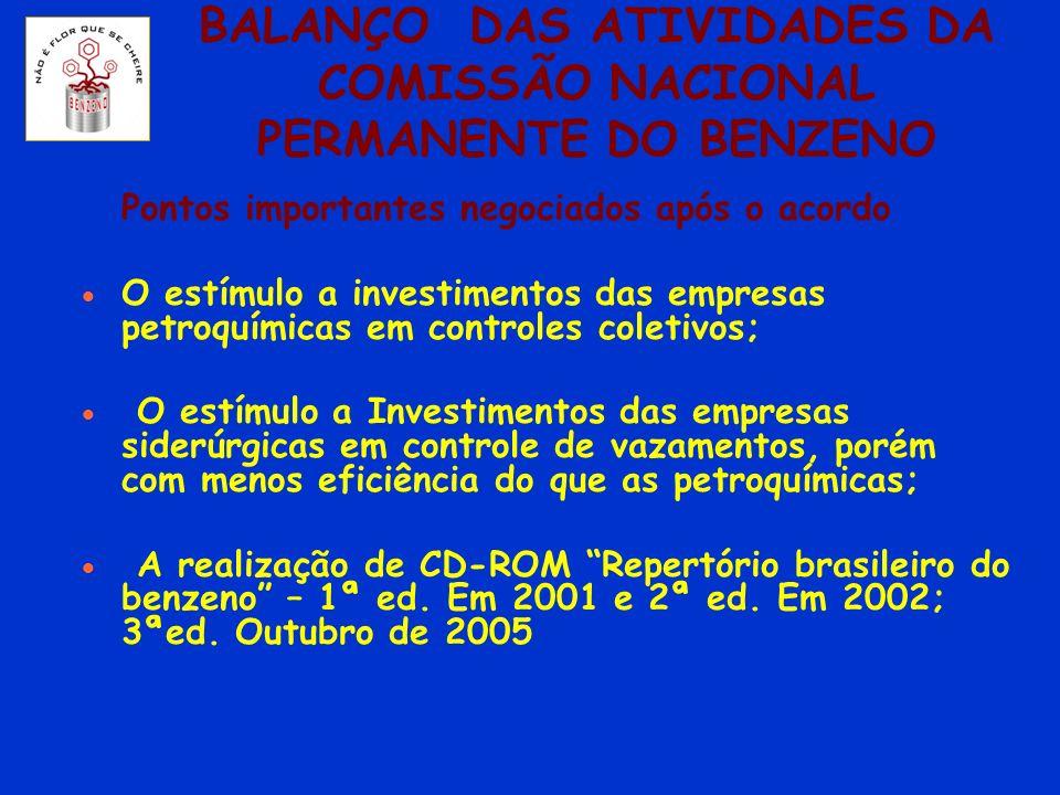 BALANÇO DAS ATIVIDADES DA COMISSÃO NACIONAL PERMANENTE DO BENZENO Pontos importantes negociados após o acordo O estímulo a investimentos das empresas