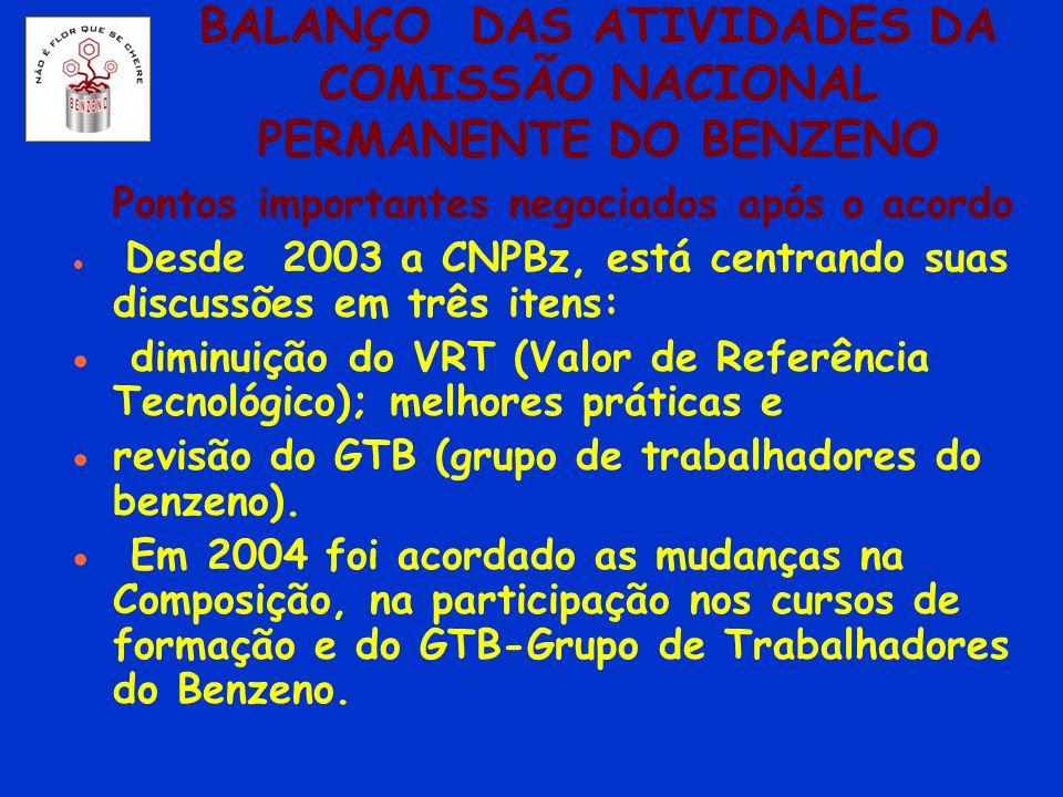 BALANÇO DAS ATIVIDADES DA COMISSÃO NACIONAL PERMANENTE DO BENZENO Pontos importantes negociados após o acordo Desde 2003 a CNPBz, está centrando suas