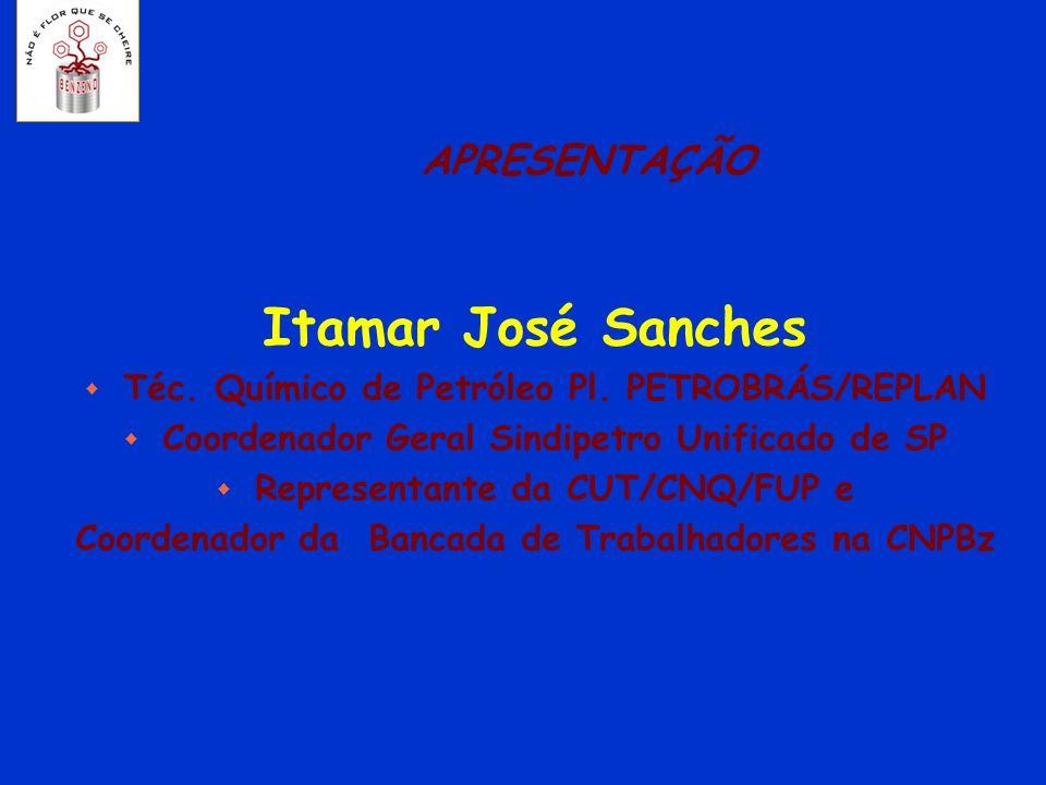 APRESENTAÇÃO Itamar José Sanches w Téc. Químico de Petróleo Pl. PETROBRÁS/REPLAN w Coordenador Geral Sindipetro Unificado de SP w Representante da CUT