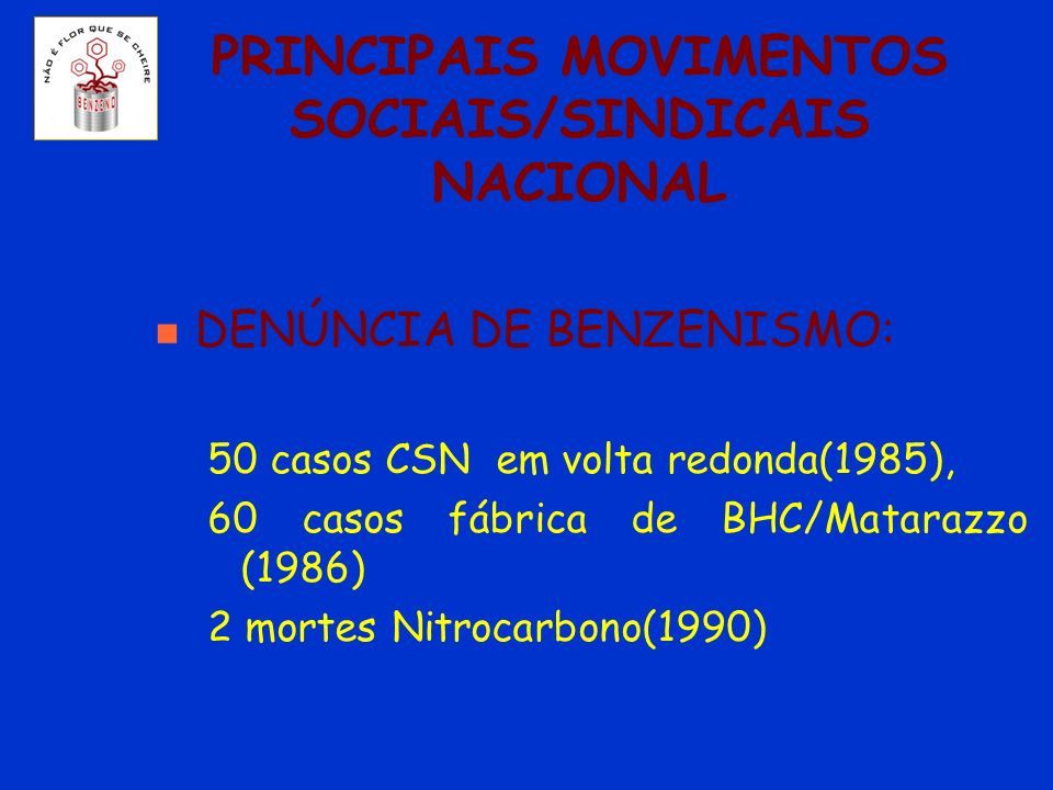 PRINCIPAIS MOVIMENTOS SOCIAIS/SINDICAIS NACIONAL n DENÚNCIA DE BENZENISMO: 50 casos CSN em volta redonda(1985), 60 casos fábrica de BHC/Matarazzo (198
