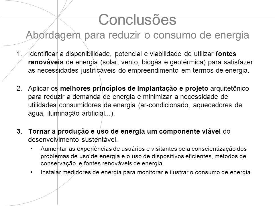 Conclusões Abordagem para reduzir o consumo de energia 1.Identificar a disponibilidade, potencial e viabilidade de utilizar fontes renováveis de energ