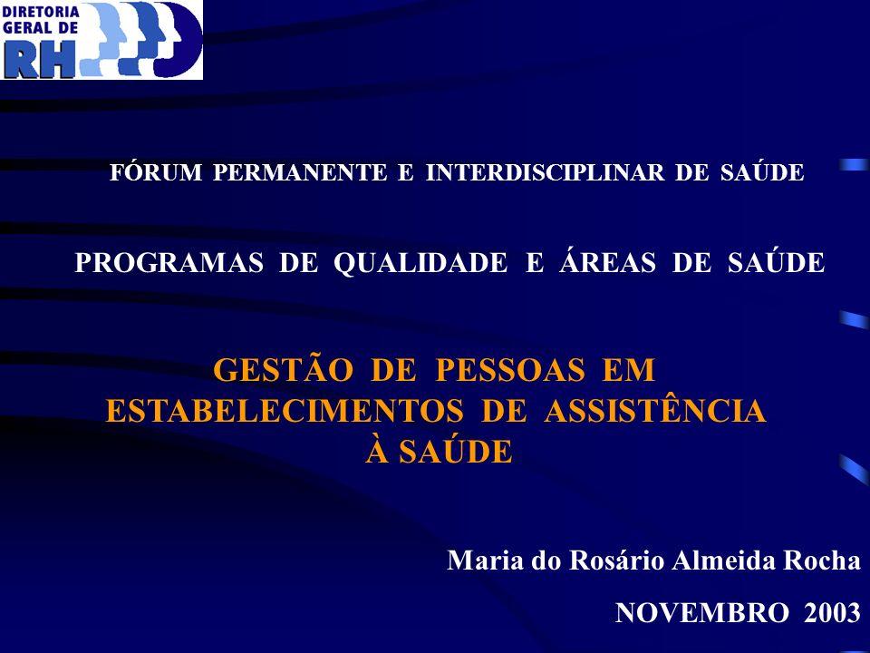 Maria do Rosário Almeida Rocha NOVEMBRO 2003 FÓRUM PERMANENTE E INTERDISCIPLINAR DE SAÚDE PROGRAMAS DE QUALIDADE E ÁREAS DE SAÚDE GESTÃO DE PESSOAS EM