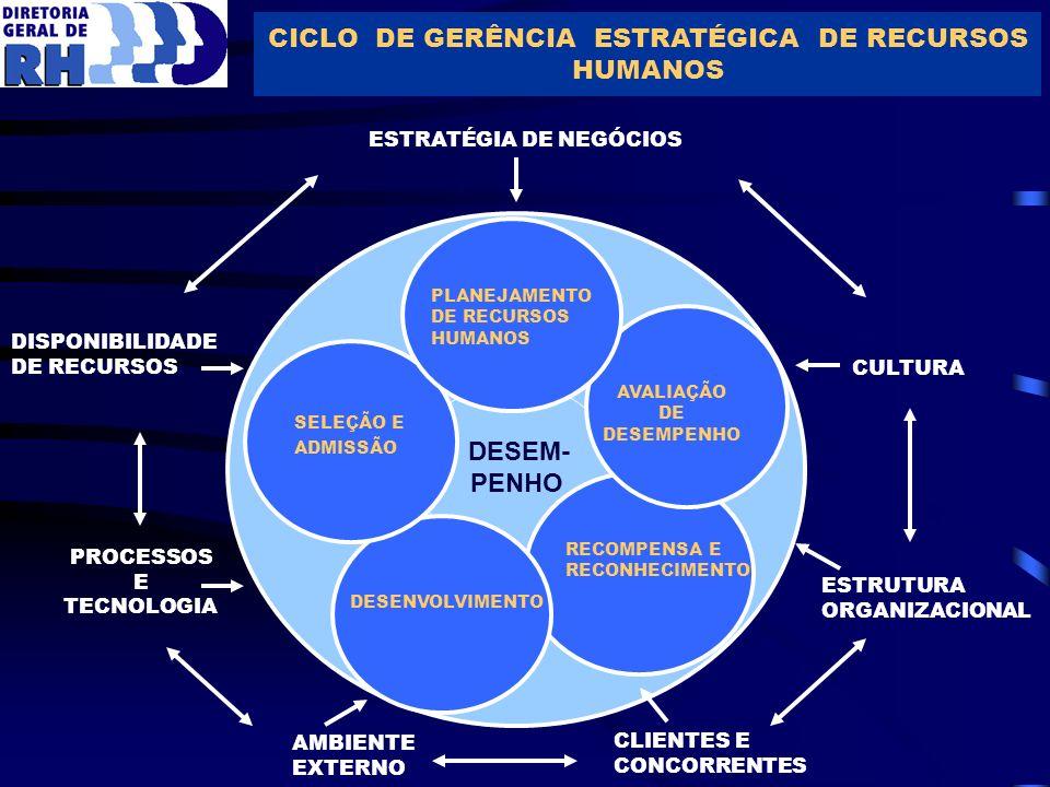 CICLO DE GERÊNCIA ESTRATÉGICA DE RECURSOS HUMANOS DISPONIBILIDADE DE RECURSOS PROCESSOS E TECNOLOGIA ESTRATÉGIA DE NEGÓCIOS CULTURA ESTRUTURA ORGANIZA
