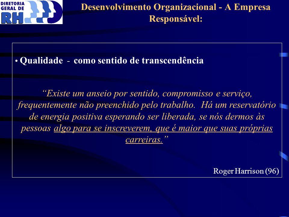 Desenvolvimento Organizacional - A Empresa Responsável: Qualidade - como sentido de transcendência Existe um anseio por sentido, compromisso e serviço