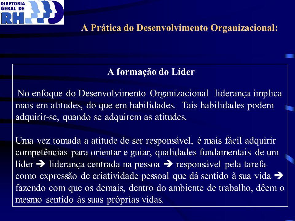 A Prática do Desenvolvimento Organizacional: A formação do Líder No enfoque do Desenvolvimento Organizacional liderança implica mais em atitudes, do q