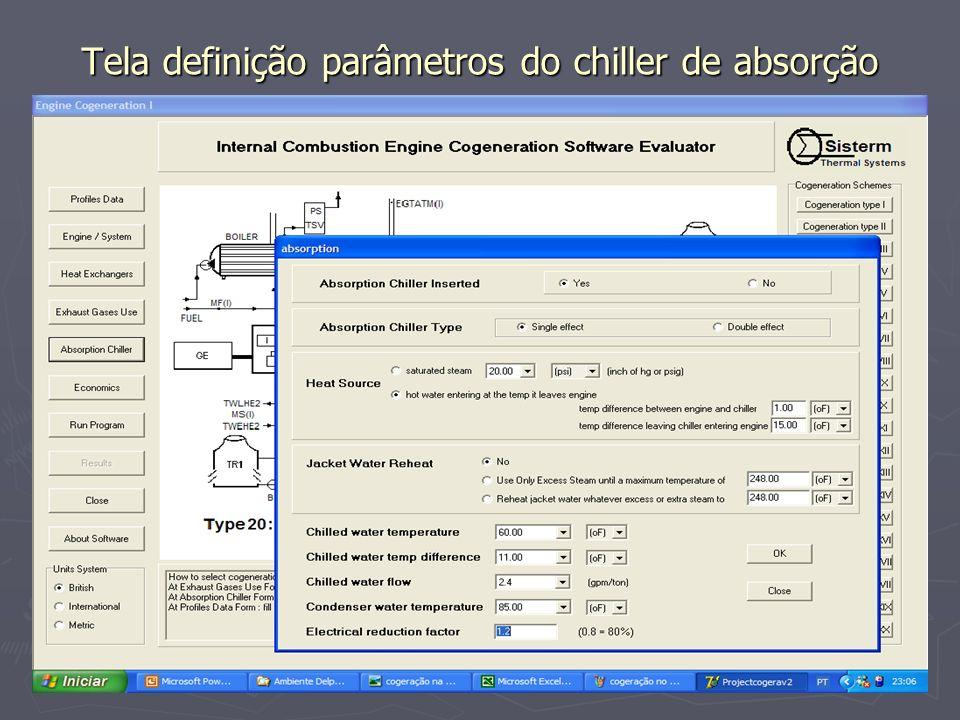 Tela definição parâmetros do chiller de absorção