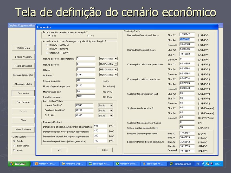Tela de definição do cenário econômico
