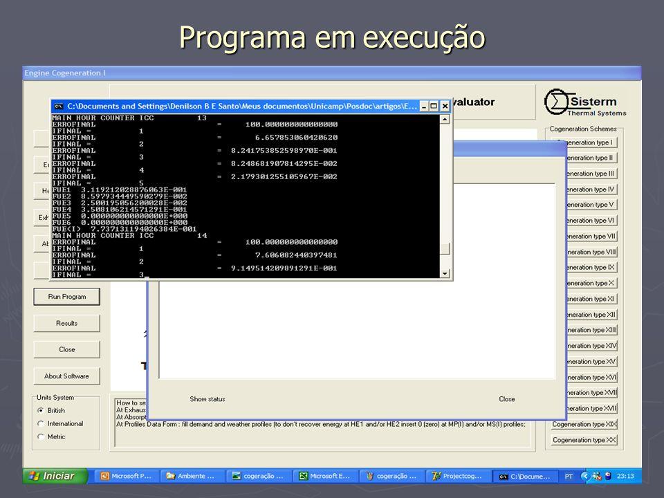 Programa em execução