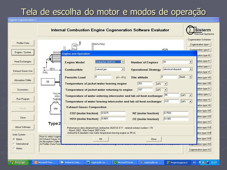 Tela de escolha do motor e modos de operação