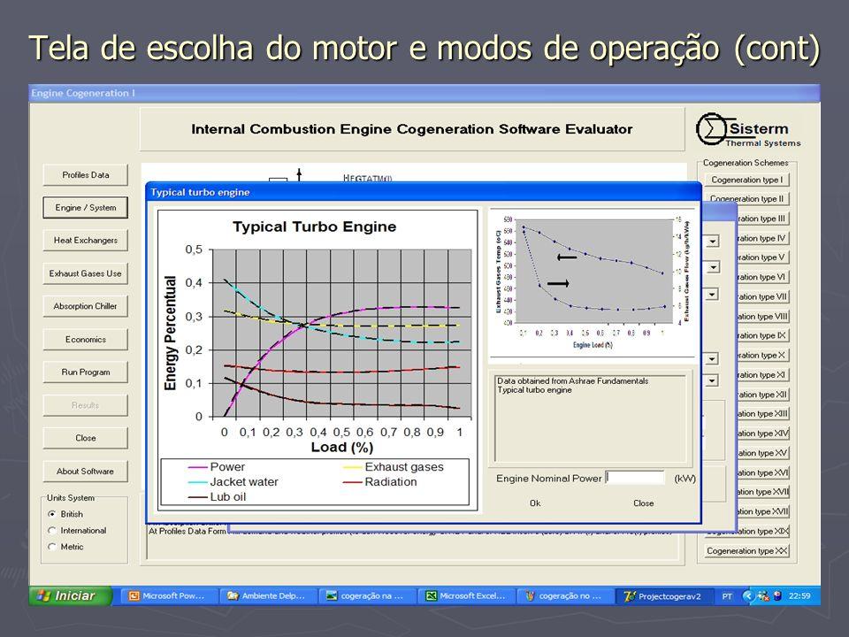 Tela de escolha do motor e modos de operação (cont)