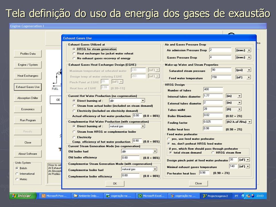 Tela definição do uso da energia dos gases de exaustão