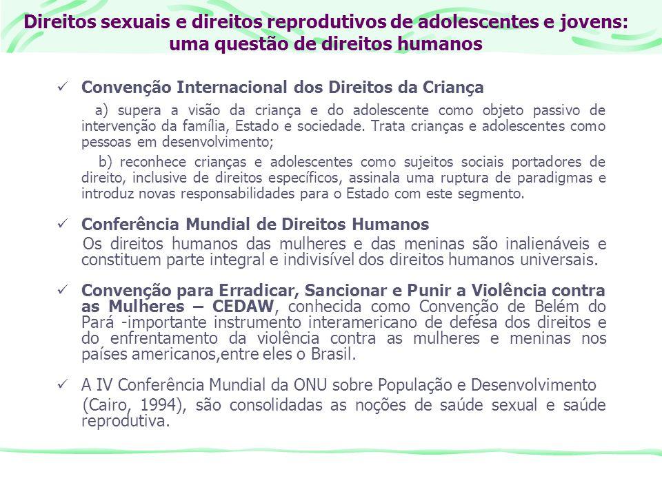 Direitos sexuais e direitos reprodutivos de adolescentes e jovens: uma questão de direitos humanos Convenção Internacional dos Direitos da Criança a)