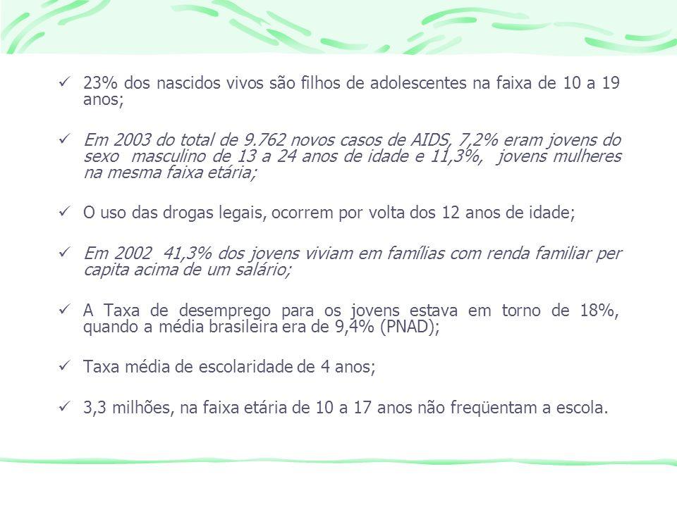 23% dos nascidos vivos são filhos de adolescentes na faixa de 10 a 19 anos; Em 2003 do total de 9.762 novos casos de AIDS, 7,2% eram jovens do sexo ma