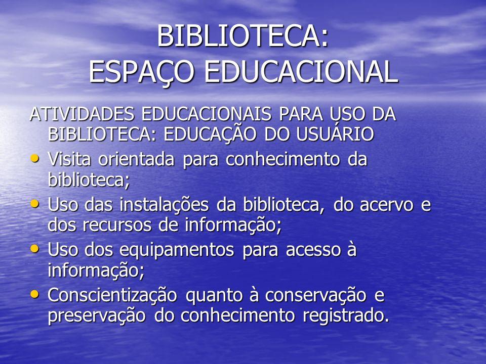 BIBLIOTECA: ESPAÇO EDUCACIONAL ATIVIDADES EDUCACIONAIS PARA USO DA BIBLIOTECA: EDUCAÇÃO DO USUÁRIO Visita orientada para conhecimento da biblioteca; V