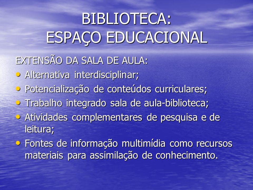 BIBLIOTECA: ESPAÇO EDUCACIONAL EXTENSÃO DA SALA DE AULA: Alternativa interdisciplinar; Alternativa interdisciplinar; Potencialização de conteúdos curr