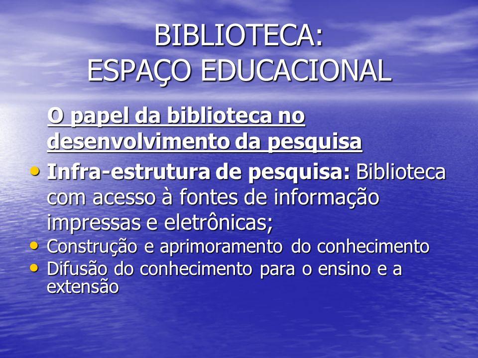 BIBLIOTECA: ESPAÇO EDUCACIONAL O papel da biblioteca no desenvolvimento da pesquisa O papel da biblioteca no desenvolvimento da pesquisa Infra-estrutu