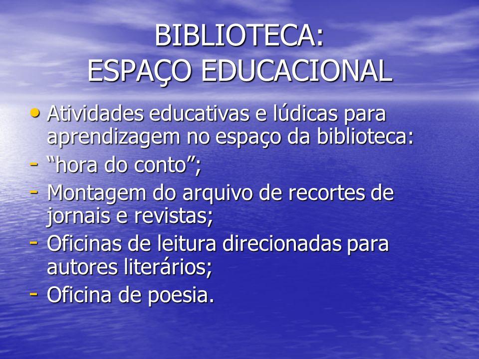 BIBLIOTECA: ESPAÇO EDUCACIONAL Atividades educativas e lúdicas para aprendizagem no espaço da biblioteca: Atividades educativas e lúdicas para aprendi