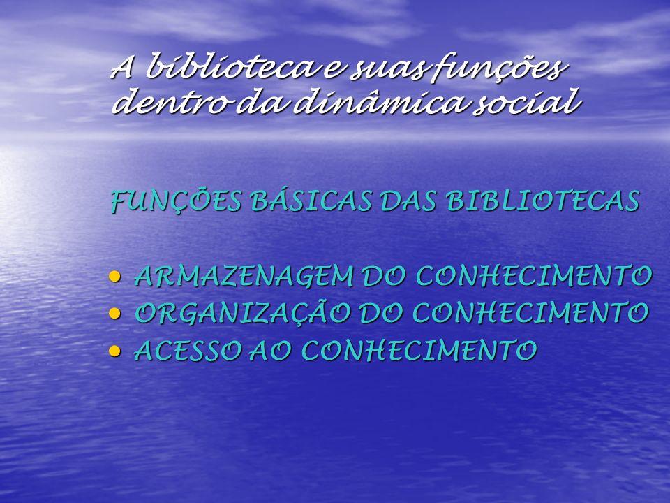 A biblioteca e suas funções dentro da dinâmica social FUNÇÕES BÁSICAS DAS BIBLIOTECAS ARMAZENAGEM DO CONHECIMENTO ARMAZENAGEM DO CONHECIMENTO ORGANIZA